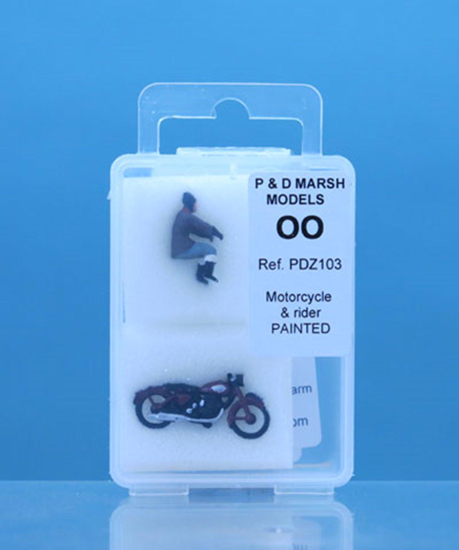PDZ103 P&D Marsh OO Gauge Painted Motorcycle & Rider
