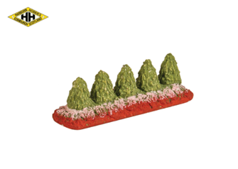 Flower Bed with 5 Minature Trees