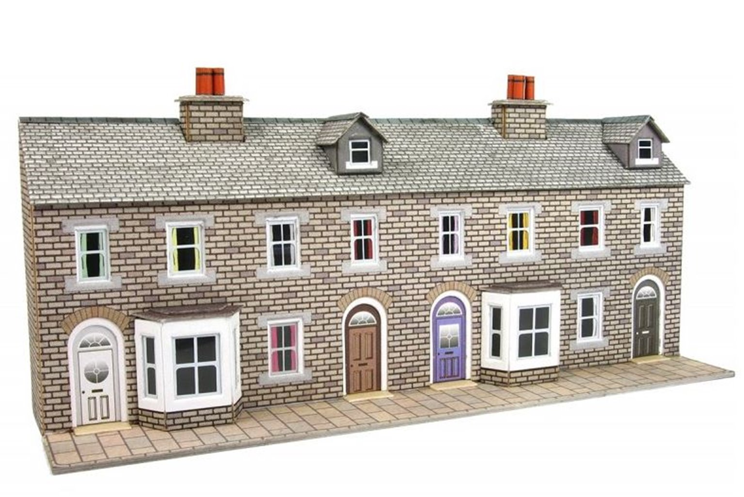 Metcalfe N Scale Low Relief Stone Terraced House Fronts