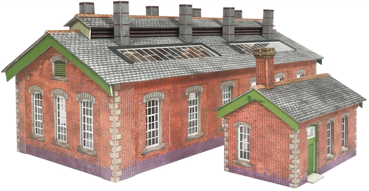 PN913 Double Track Engine Shed In Red Brick