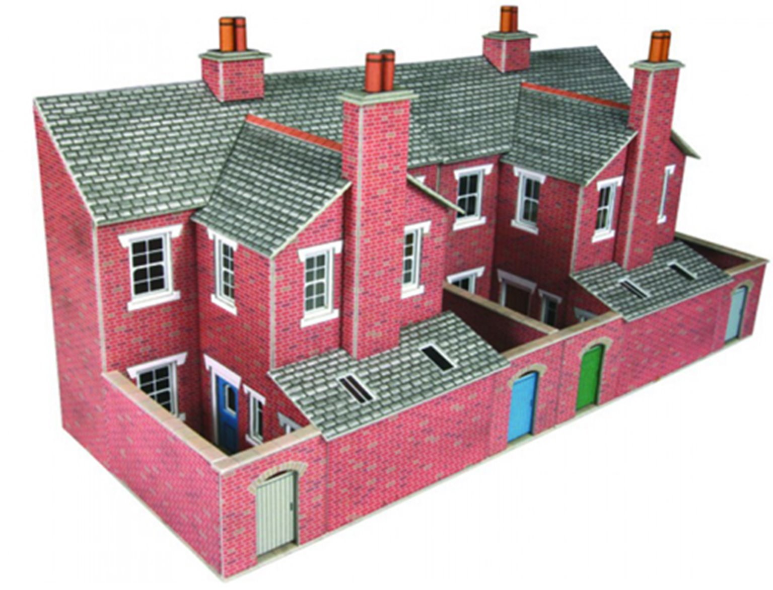 Low Relief Terraced House Backs - Red Brick