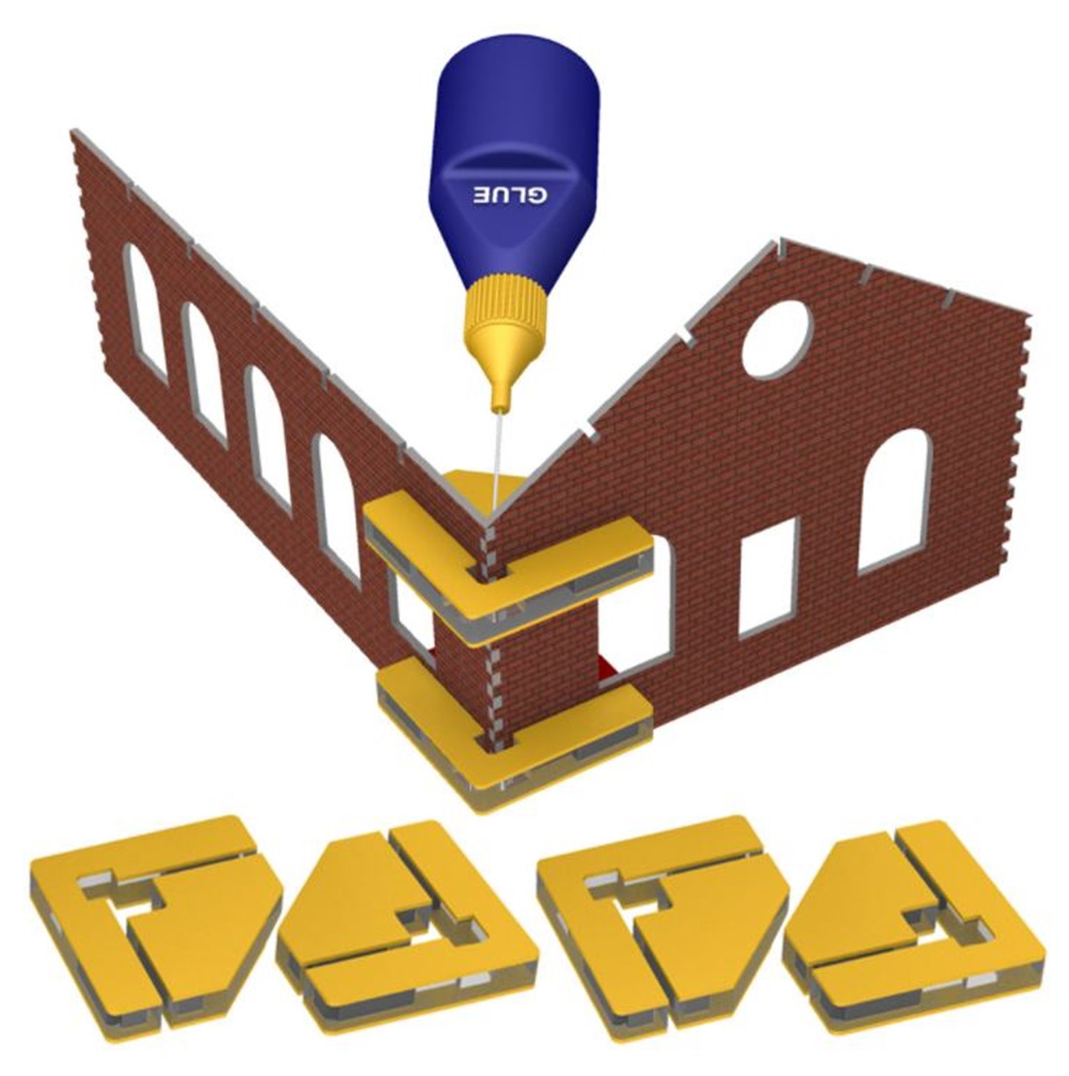 Snap & Glue Set Square (4 Magnetic Clamps w/16 Magnets)