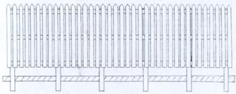 Picket Type Station Fencing 3ft approx.