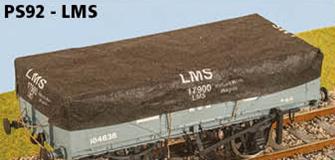 Parkside Dundas PS92 LMS 3 Wagons Tarps