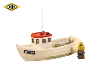 Lobster Boat (Red Roof) with Fisherman