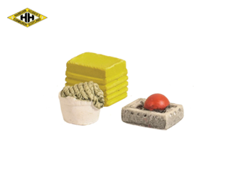 Fish box, rope in bucket and box with float