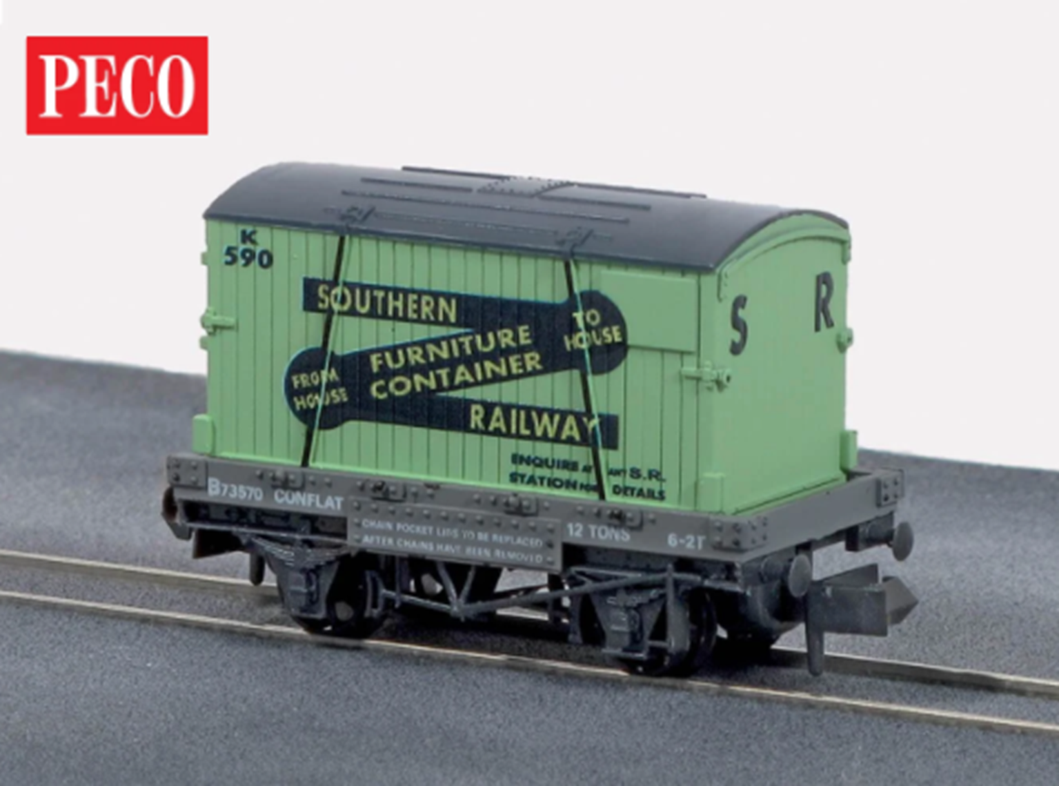 Conflat with container, Southern, N scale (green)