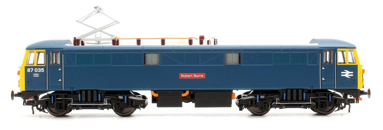 Class 87 87035 Robert Burns BR Rail Blue (Cross Arm Pantograph)