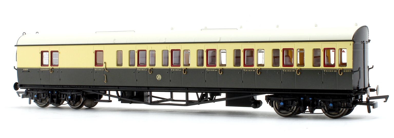 GWR Collett 57' Bow Ended D98 Six Compartment Brake Third (Right Hand) 5504 - Era 3