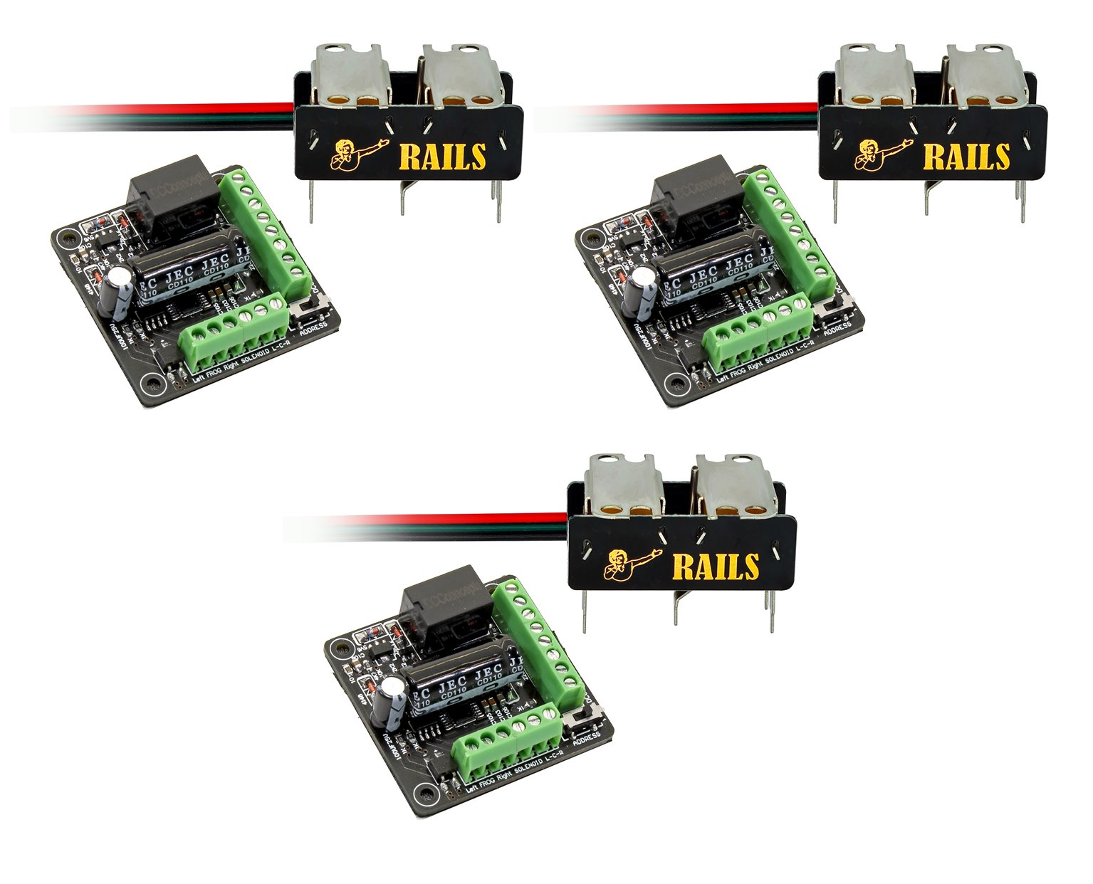 Rails Connect High Efficiency Under Board Stainless Steel DIGITAL Point Motor (3 Pack)