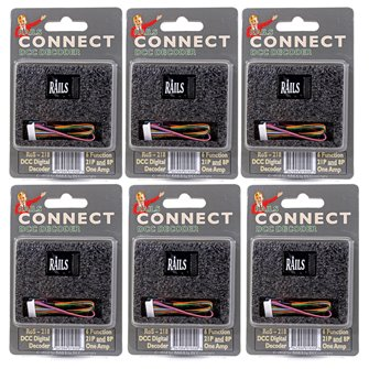 Pack of Six Rails Connect 21 Pin Direct (8 Pin Harness) 6 Function Decoders