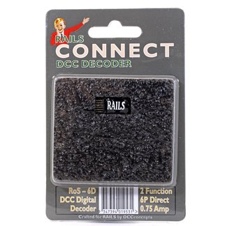 Rails Connect Decoder, 6 Pin Direct 2 Function Nano Decoder
