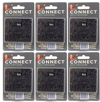 Pack of Six Rails Connect  6 Pin Direct 2 Function Nano Decoders
