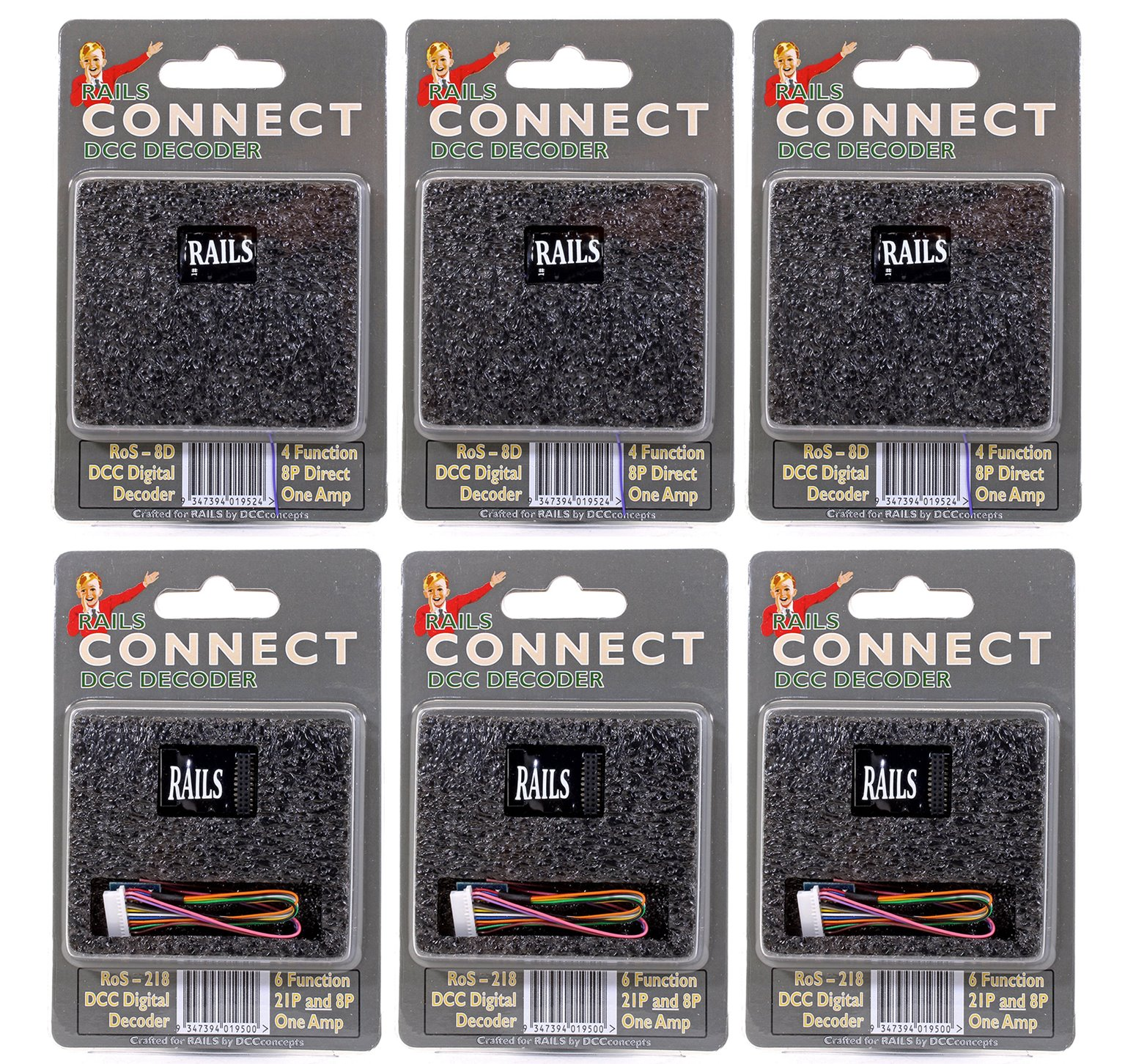 Pack of Six Rails Connect Decoders (3x 21 Pin & 3x 8 Pin)