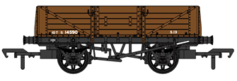 SECR 1349 5 Plank Open Wagon - SR Brown (with BR markings) #S14590