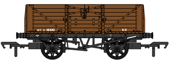 SECR 1355 7 plank Open Wagon - SR brown (with BR markings) #S16510