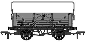 SECR 1355 7 plank Open Wagon - BR grey with sheet rail #S28662