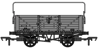 SECR 1355 7 plank Open Wagon - BR grey with sheet rail #S28942