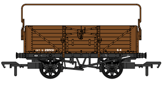 SECR 1355 7 plank Open Wagon - SR brown (with BR markings with sheet rail) #S28951