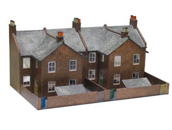 Four Red Brick Terraced Backs Building Kit
