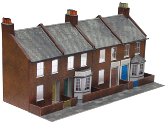 Four Red Brick Terraced Fronts Building Kit
