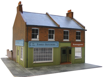 Red Brick Terrace Corner Shops Building Kit
