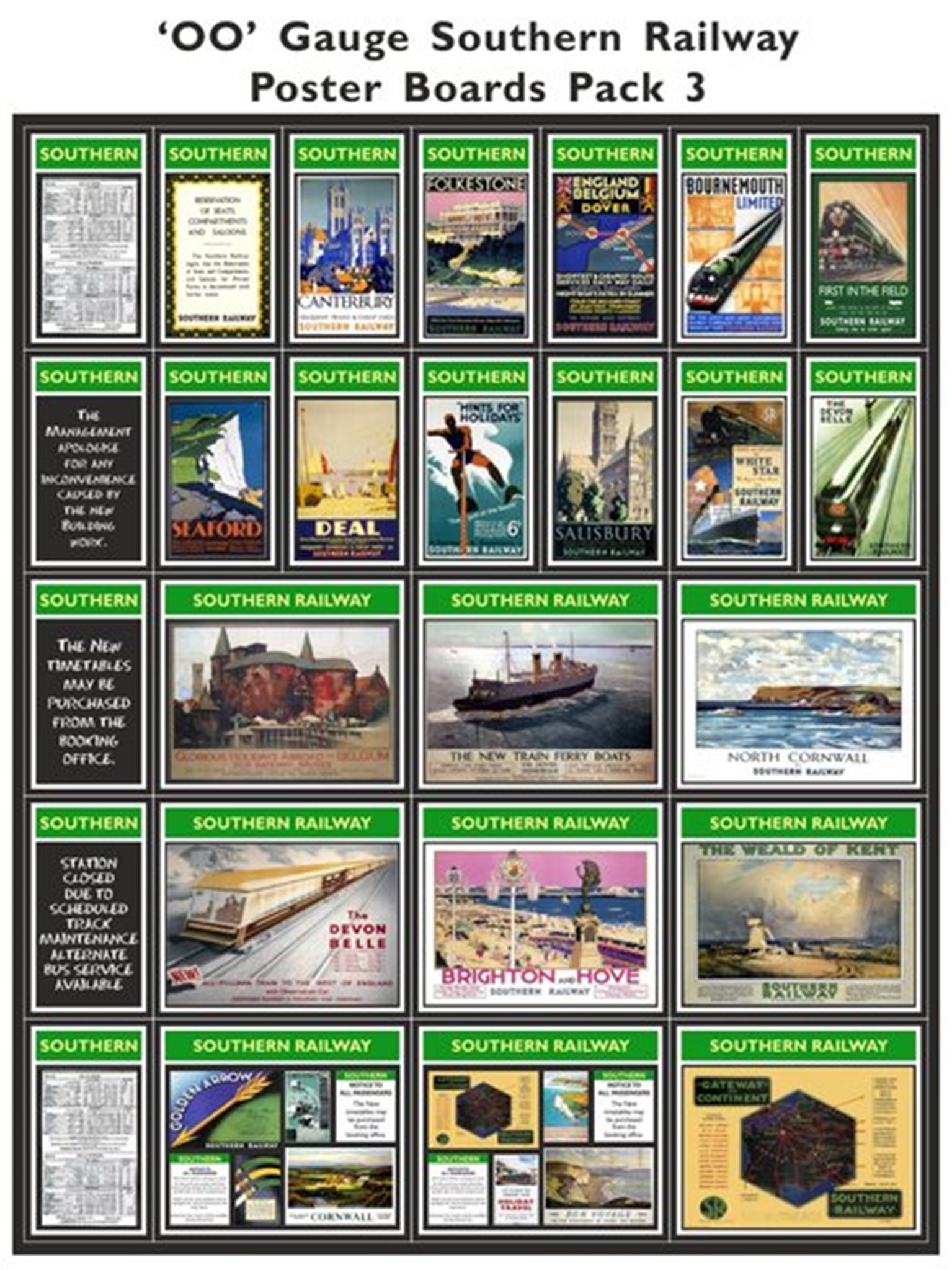 Southern Railway Poster Boards Pack 3
