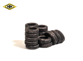 Car Tyres - piled/leaning