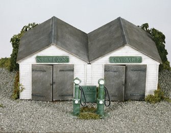 Station Garage, with vintage pumps and oil cabinet