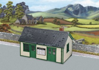 Wayside Station, timber, slate roof, brick chimney