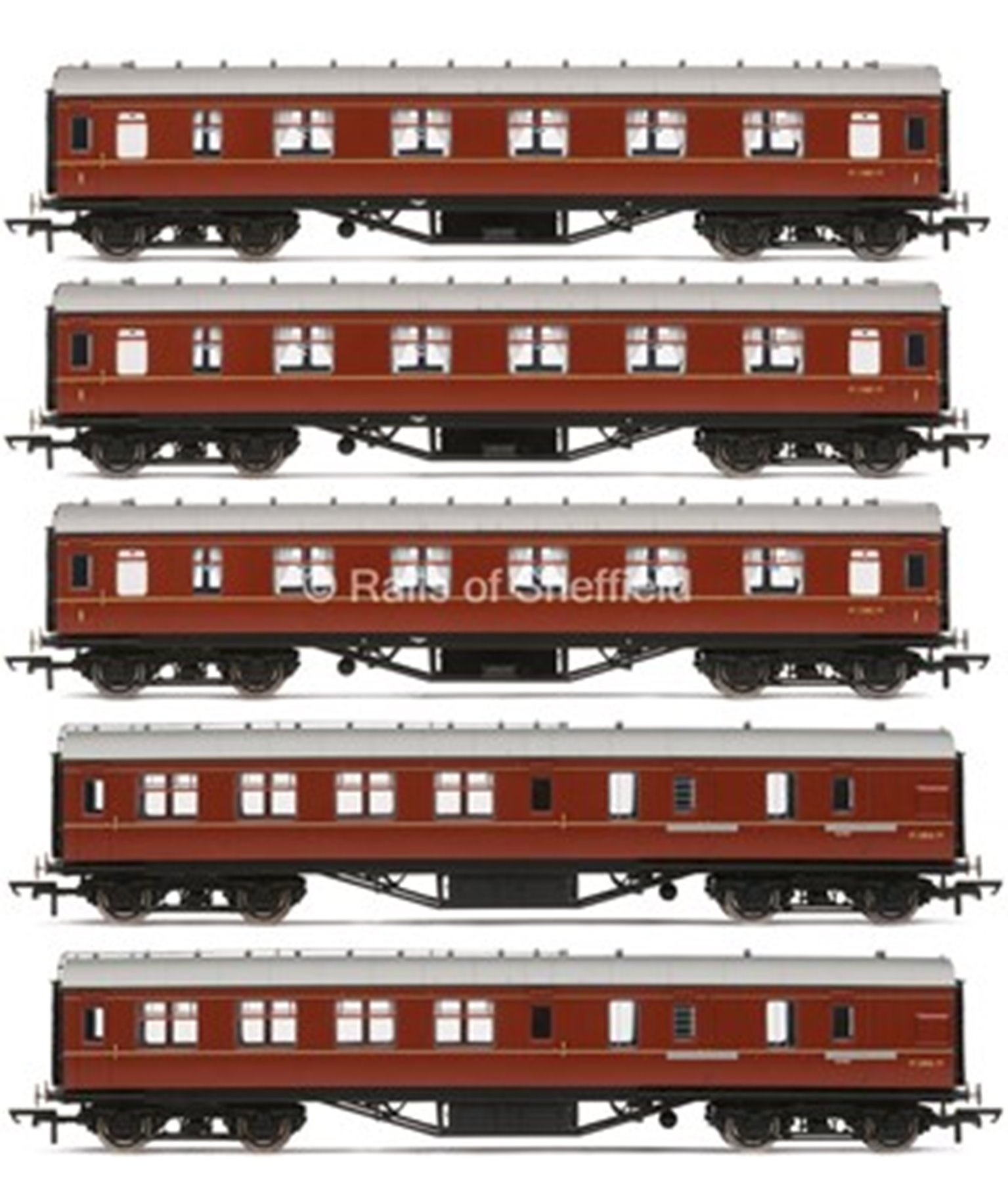 Set of 5 Stanier Period III BR (exLMS) Maroon Passenger Coaches