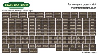 Die Cut GWR Station Signs - Brown & Cream