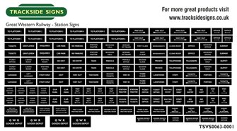 Die Cut GWR Station Signs - Black