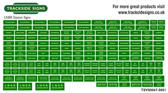 Die Cut LNER Station Signs - Green & Cream