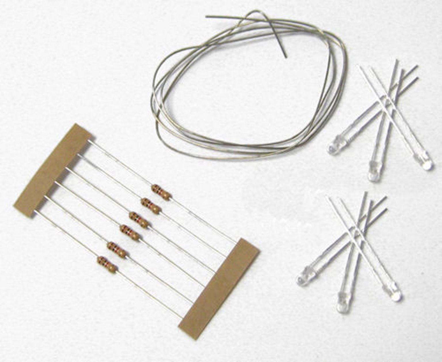 LED Pack Warm White (6) with Resistors & Tinned Wire