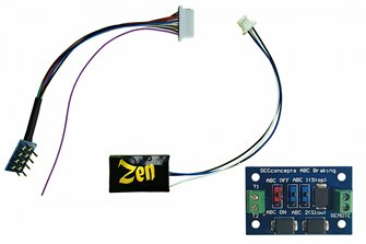 Zen Black Decoder: Classic small decoder shape with 8-pin harness. 4 Functions. Includes 1x ABC module