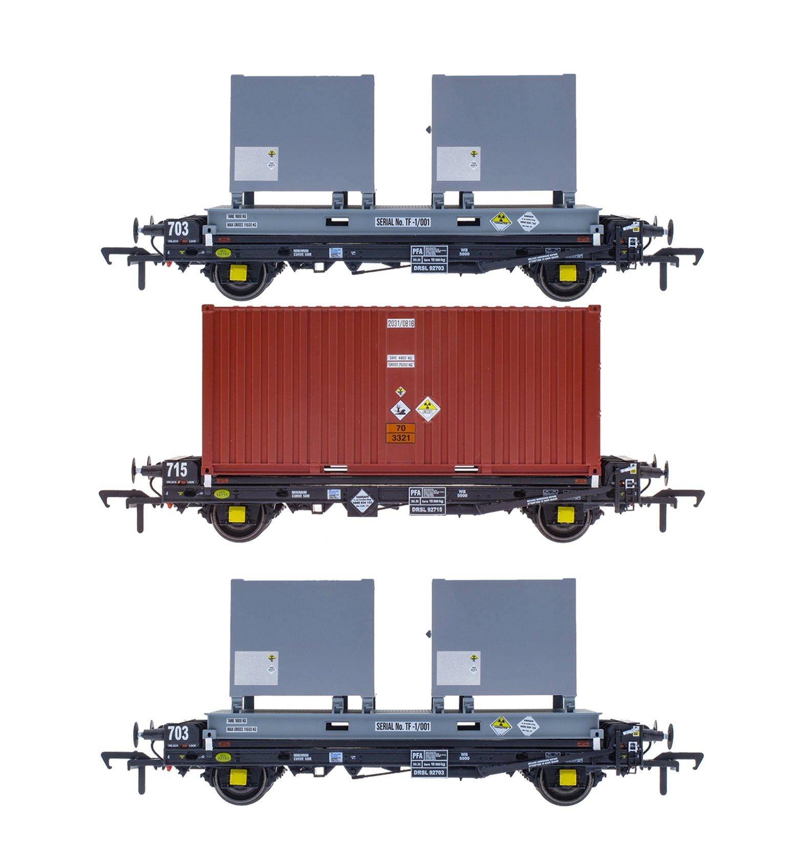 Set of 3 PFA 2 Axle Container Flat Wagons - DRS LLNW - Novapak Pack 2
