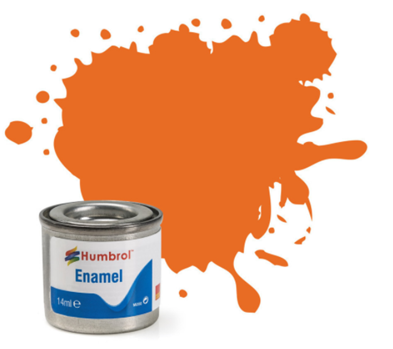 No 18 Orange Gloss Enamel Paint (14ml)