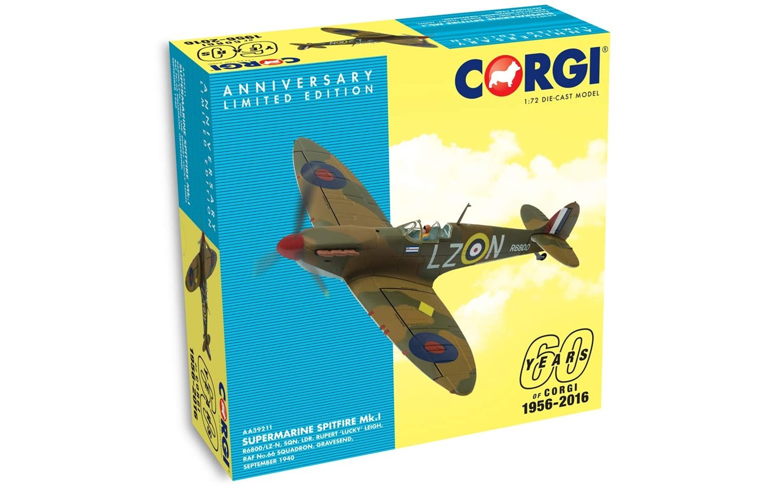 1:72 Supermarine Spitfire Mk.I R6800/LZ-N, Sqn. Ldr. Rupert 'Lucky' Leigh - 60th Anniversary Collection