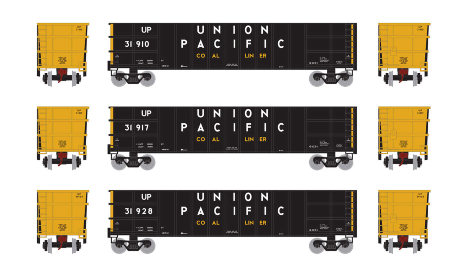 N Set of 3 Thrall High Side Gondola Wagons with Loads,  UP Union Pacific #1 (3)