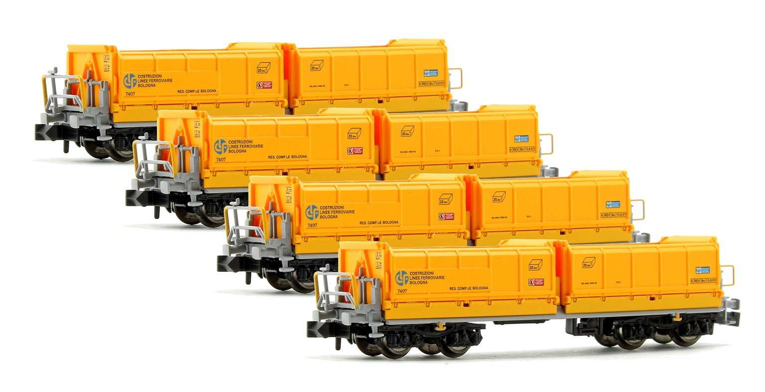 Set of 4 N Gauge Yellow Tipper Wagons (CLF Ep.V 7407)