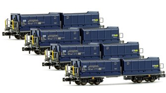 Set of 4 N Gauge Blue Tipper Wagons (BLS Ep.V)