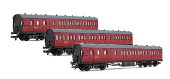 Rake of 3 BR Unlined Carmine 57ft Stanier Coaches