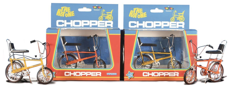 Pair of 1:12 Scale MK1 Chopper Bicycles (1x Yellow & 1x Orange)