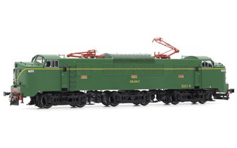 Electrotren (H0 1:87) RENFE, electric locomotive 278-018-7 in green/yellow livery with original vents and single-arm pantographs DC
