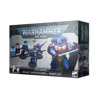 Warhammer 40,000 Space Marines: Assault Intercessors + Paints Set