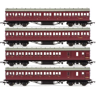 Set of Four BR (ex LMS) Maroon 57' Non-Corridor Coaches