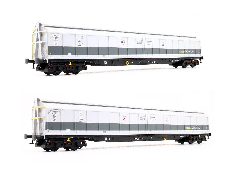 "Set of Two Cargowaggon Bogie Ferry Vans (Railadventure two-tone grey ""Barrier Wagon"")"