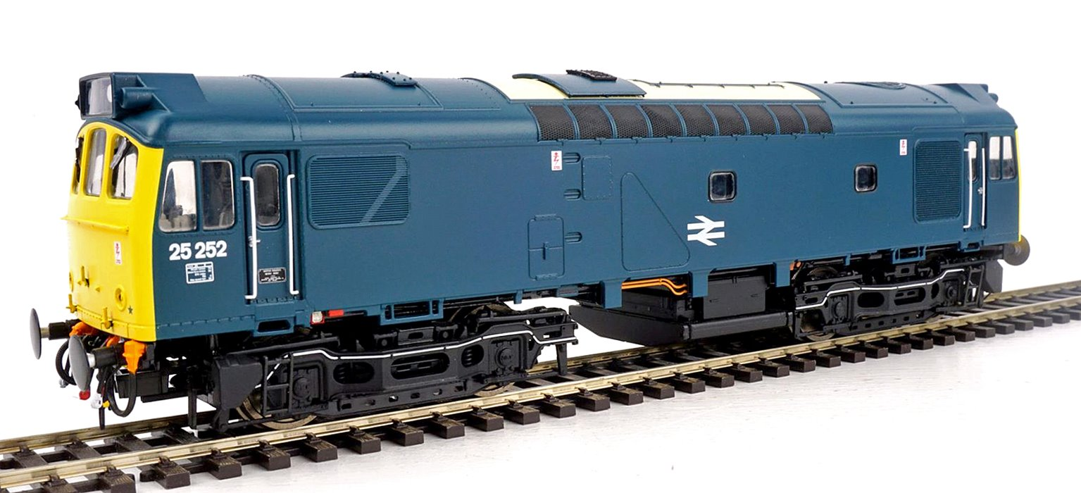 Class 25 252 (LMR) BR Rail Blue with full yellow ends (single, central double arrows) and head code panel still in place