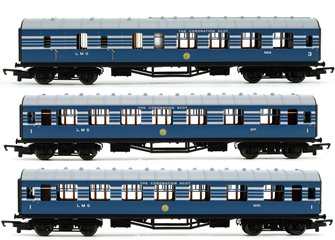 LMS Blue 'Coronation Scot' 3 Car Coach Pack